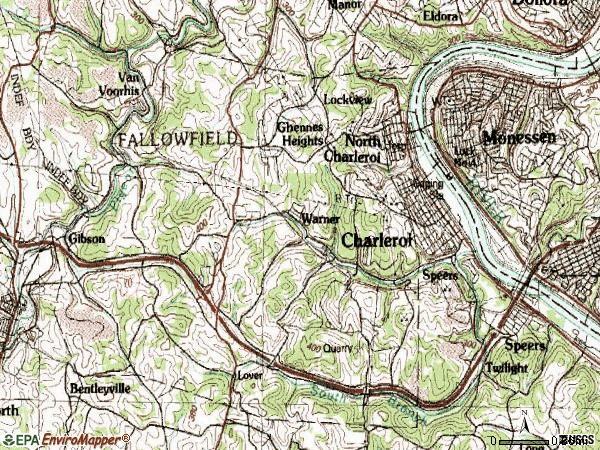 Zip code 15022 topographic map