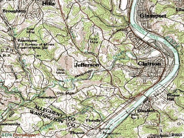 Zip code 15025 topographic map