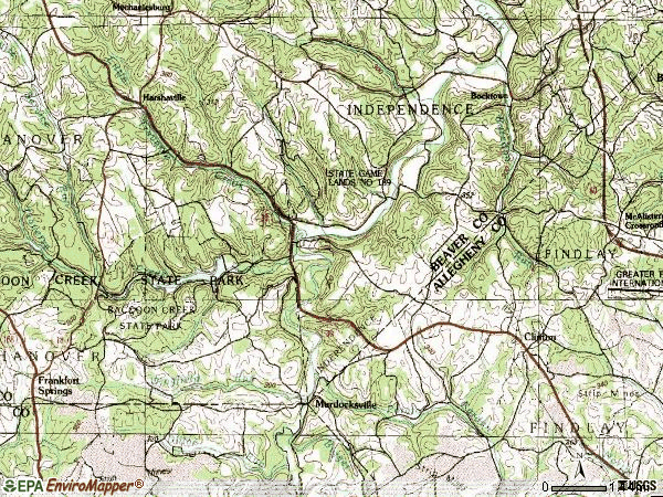 Zip code 15026 topographic map