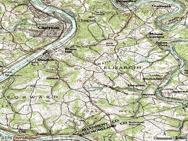 Zip code 15037 topographic map