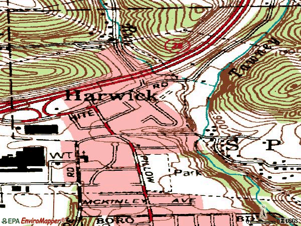 Zip code 15049 topographic map