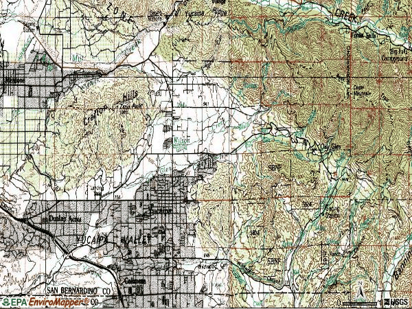 Zip code 92399 topographic map