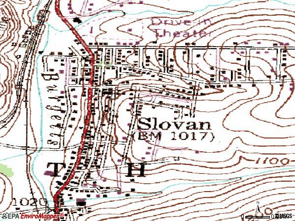 Zip code 15078 topographic map