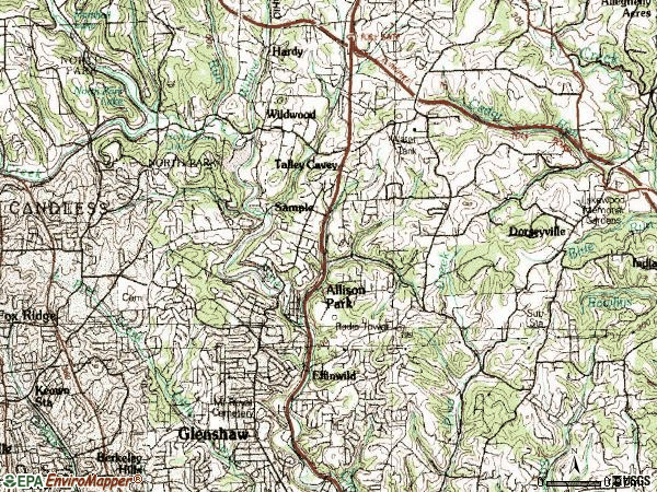 Zip code 15101 topographic map