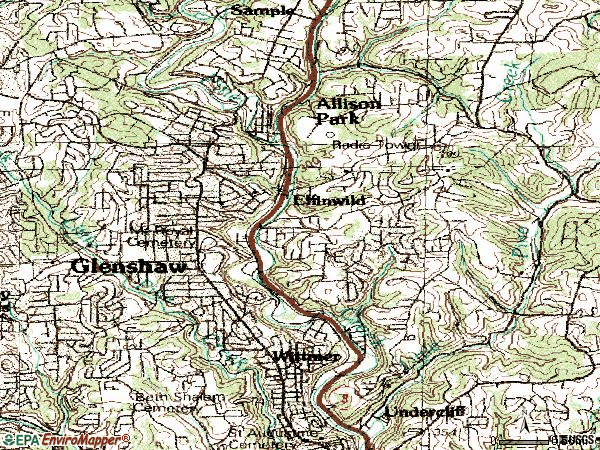 Zip code 15116 topographic map