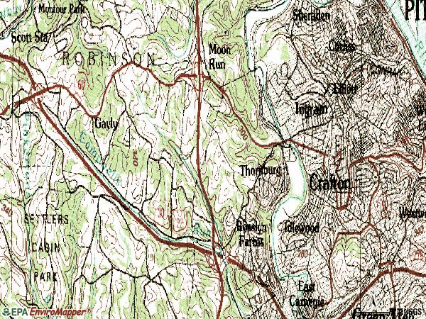 Zip code 15205 topographic map
