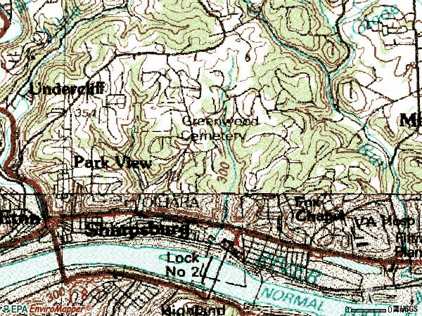 Zip code 15215 topographic map