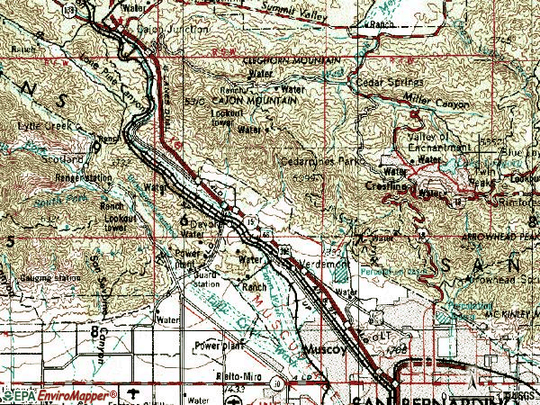 Zip code 92407 topographic map