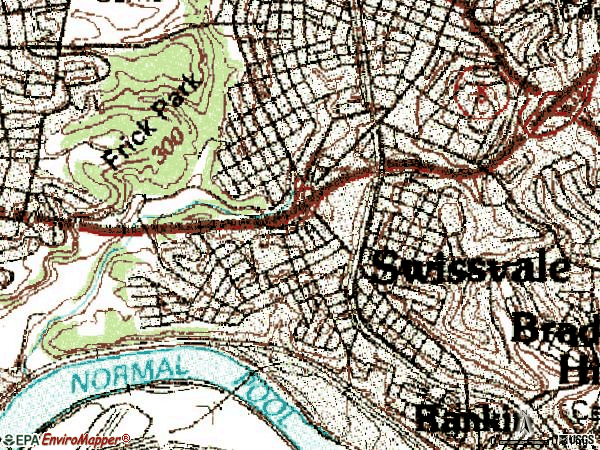 Zip code 15218 topographic map