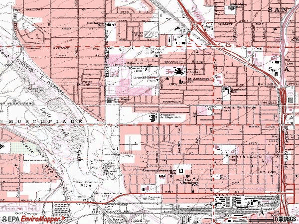 Zip code 92411 topographic map
