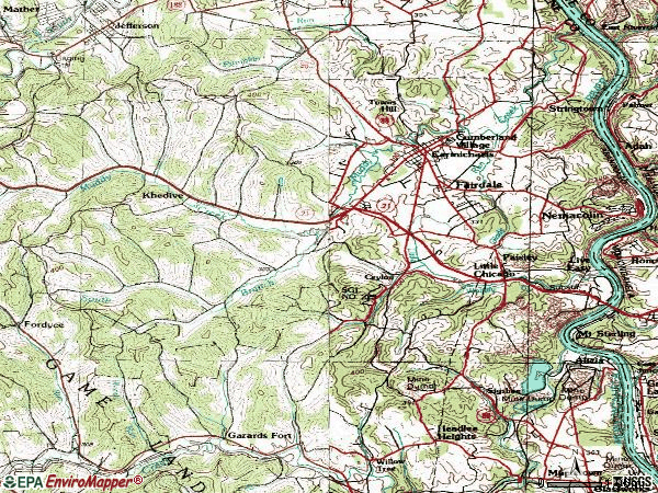 Zip code 15320 topographic map
