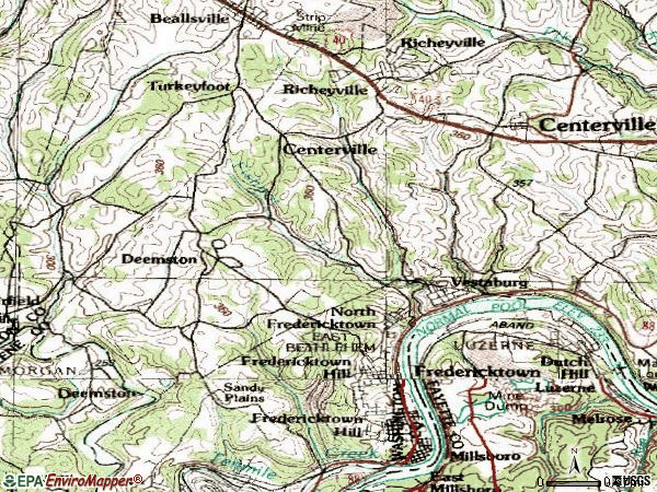 Zip code 15333 topographic map