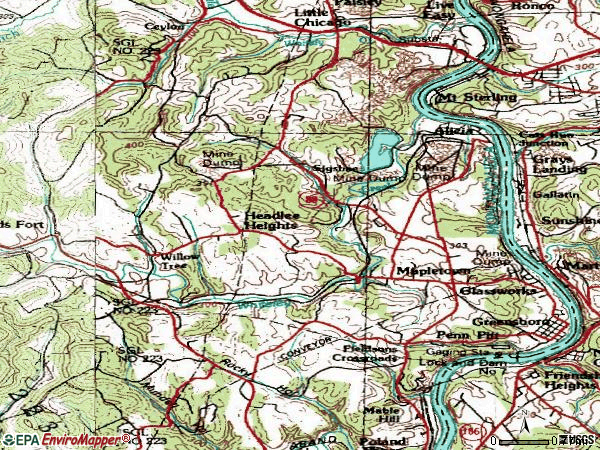 Zip code 15338 topographic map