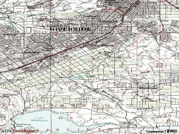 Zip code 92504 topographic map