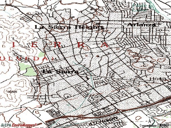 Zip code 92505 topographic map
