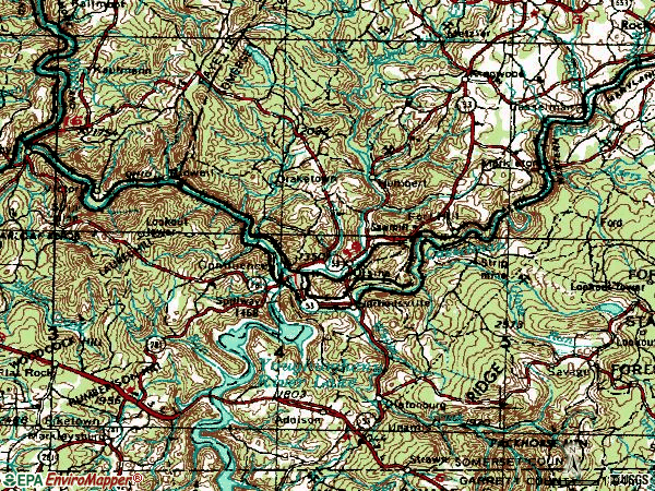 Zip code 15424 topographic map