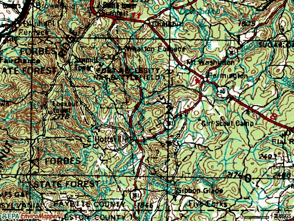 Zip code 15437 topographic map