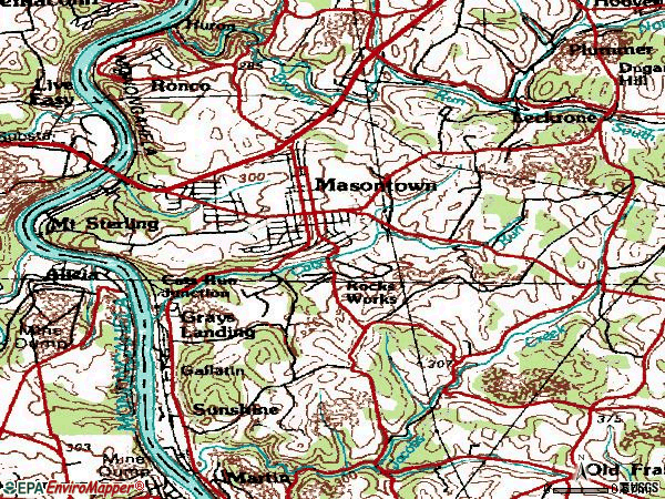 Zip code 15461 topographic map