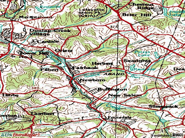 Zip code 15468 topographic map
