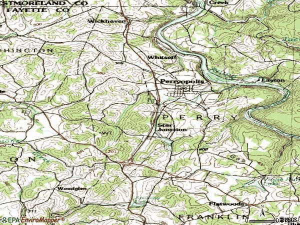 Zip code 15473 topographic map