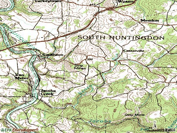 Zip code 15479 topographic map
