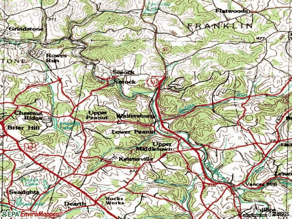 Zip code 15480 topographic map