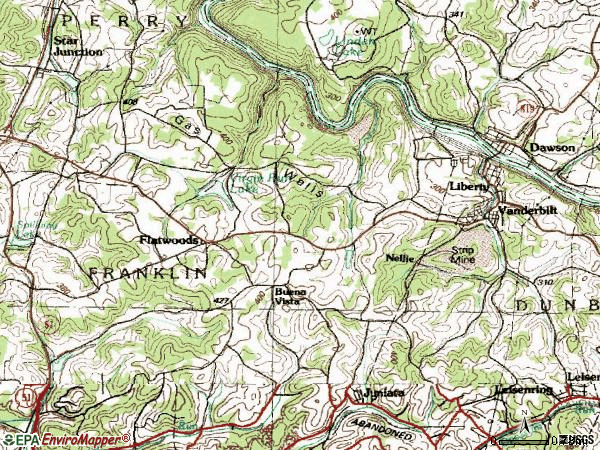 Zip code 15486 topographic map