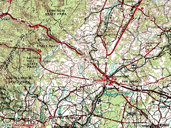 Zip code 15501 topographic map