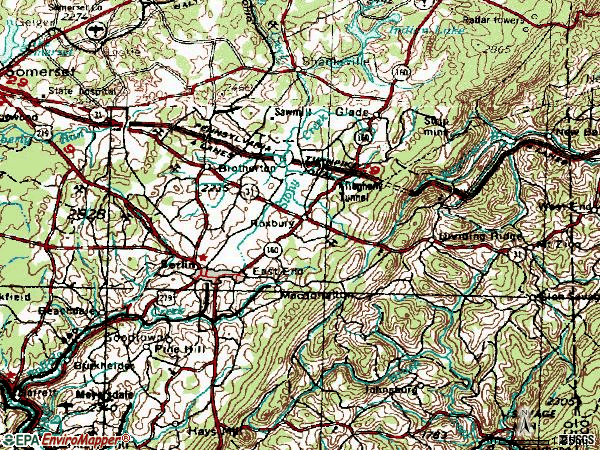 Zip code 15530 topographic map