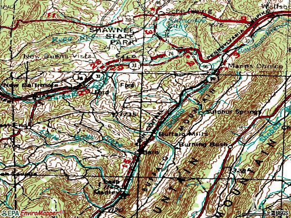Zip code 15550 topographic map
