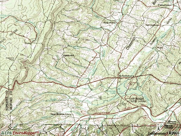 Zip code 15559 topographic map