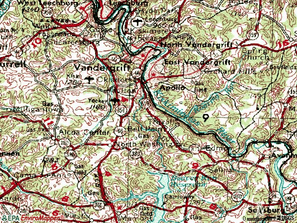 Zip code 15613 topographic map