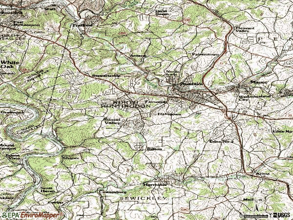 Zip code 15642 topographic map