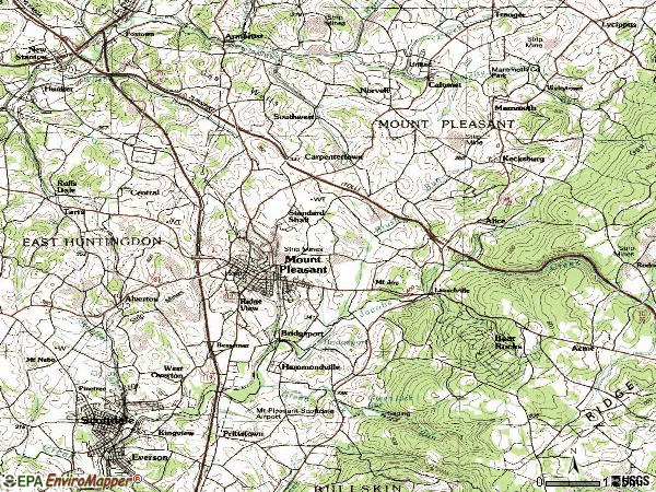 Zip code 15666 topographic map