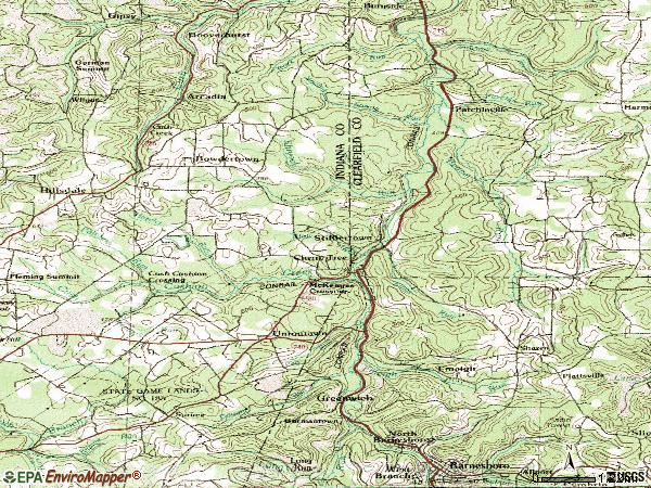 Zip code 15724 topographic map
