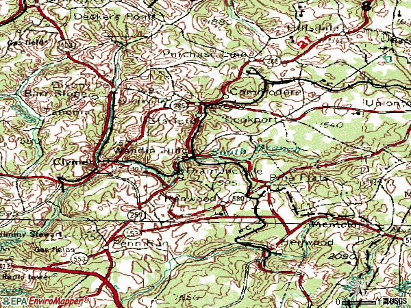 Zip code 15728 topographic map