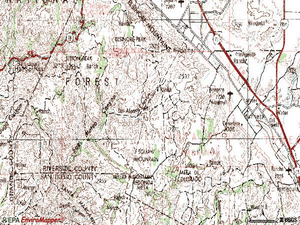 Zip code 92562 topographic map
