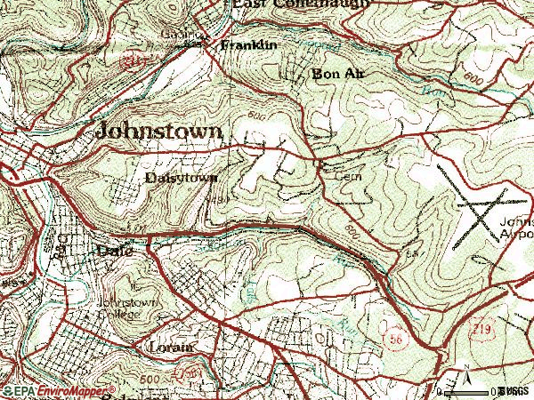 Zip code 15902 topographic map