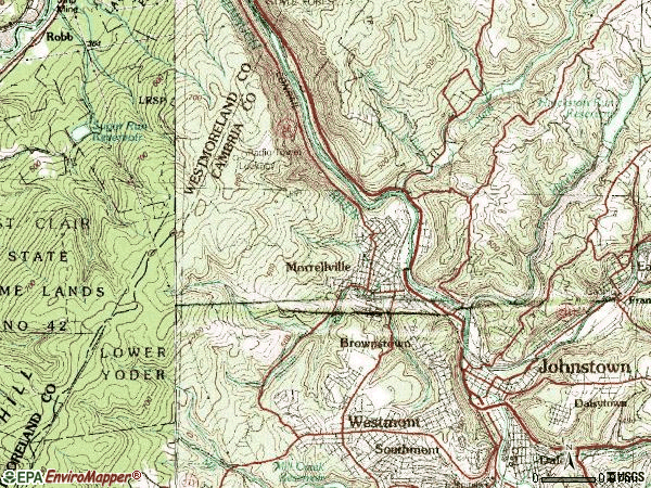 Zip code 15906 topographic map