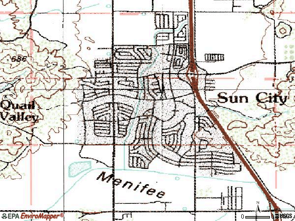 Zip code 92586 topographic map