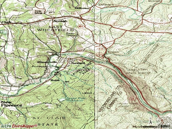 Zip code 15954 topographic map