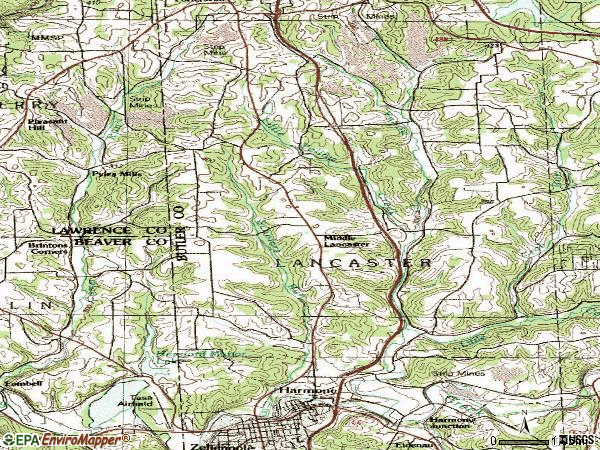 Zip code 16037 topographic map