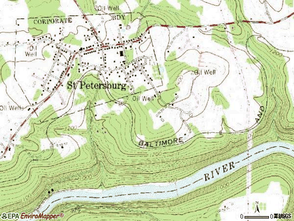 Zip code 16054 topographic map