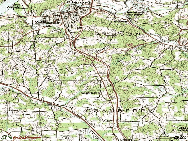 Zip code 16063 topographic map
