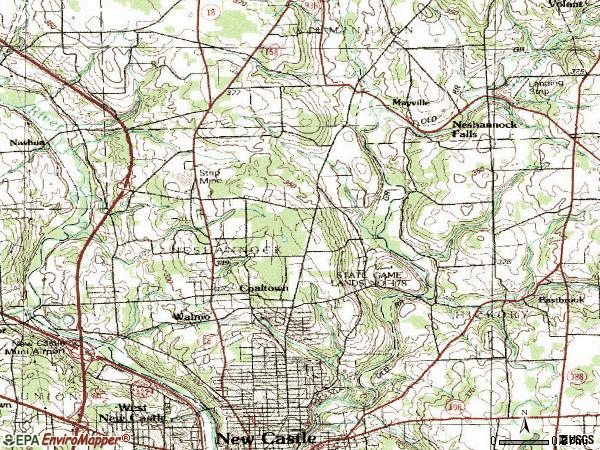 Zip code 16105 topographic map