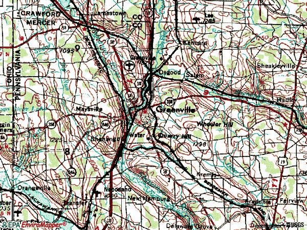 Zip code 16125 topographic map
