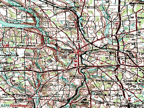 Zip code 16137 topographic map