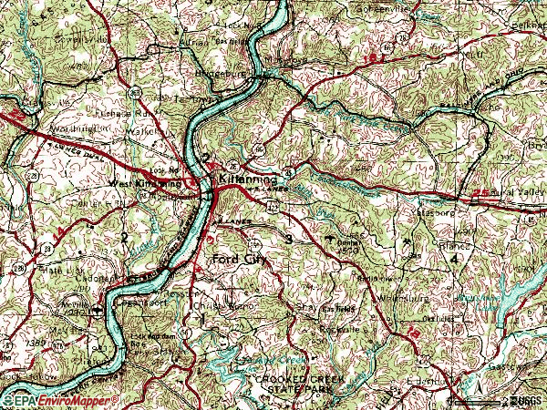Zip code 16201 topographic map