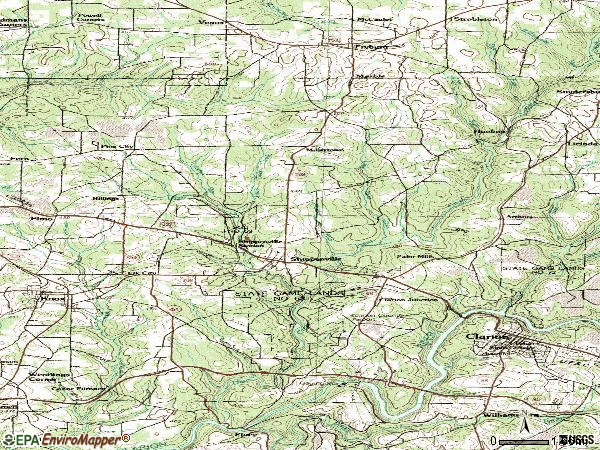 Zip code 16254 topographic map