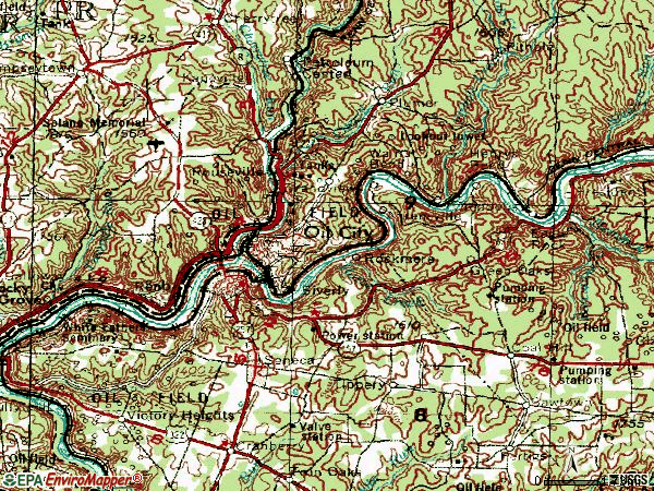 Zip code 16301 topographic map